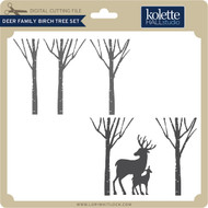 Deer Family Birch Tree Set