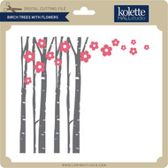 Birch Trees with Flowers