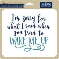 I'm Sorry For What I Said Wake