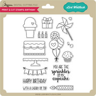 Print & Cut Stamps Birthday
