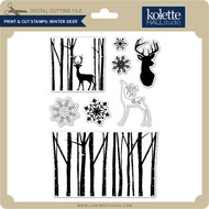 Print & Cut Stamps Winter Deer