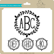 Monogram Type Holly Wreath Font
