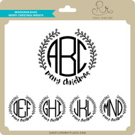 Monogram Basic Merry Christmas Wreath