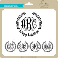 Monogram Basic Script Happy Holidays Wreath