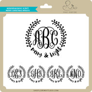 Monogram Basic Script Merry Christmas Wreath