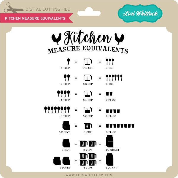 Download Kitchen Measure Equivalents - Lori Whitlock's SVG Shop