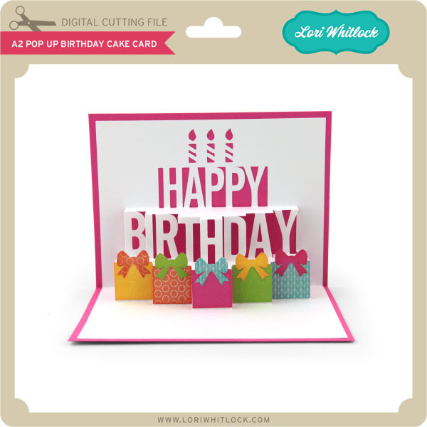 Brilliant A2 Pop Up Birthday Cake Card Lori Whitlocks Svg Shop Funny Birthday Cards Online Fluifree Goldxyz
