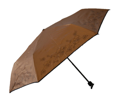 Compact Bronze Flower Umbrella Side