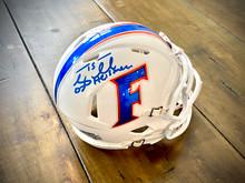 Tim Tebow Autographed Florida Gators White Alternate Speed Mini Helmet with 07 Heisman