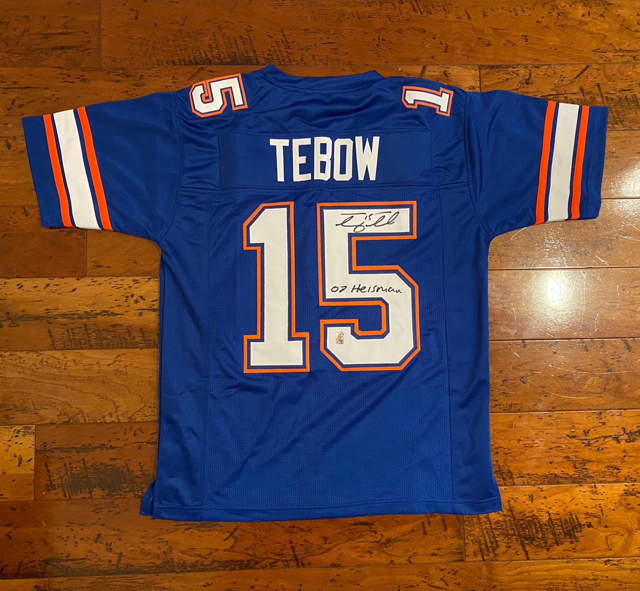 Tim Tebow Autographed Florida Blue Gators Jersey With 07 Heisman