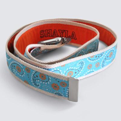 More Cowbelt Canvas Light Blue Paisley Embroidered Gait Belt