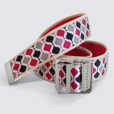 More Cowbelt Canvas Pink Black Silver Geo Gait Belt