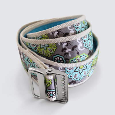 More Cowbelt Canvas Gait Belt Silver Turquoise Green Flowers