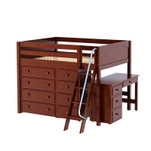 Mid Loft Bed w/ Angle Ladder, 4 & 4-1/2 Drawer Dressers & Desk