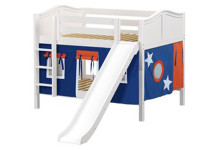 Low Bunk Bed with Straight Ladder and Slide