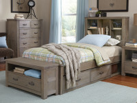 Seaview Bookcase Bed Twin Driftwood