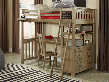 Seaview Twin Loft Bed Driftwood with Desk