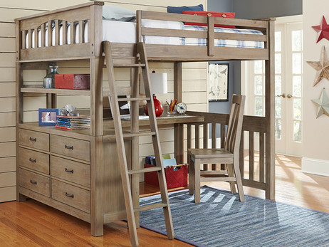 Seaview Full Loft Bed Driftwood with Desk