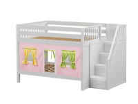 Low Bunk Bed with Staircase on End & Curtain (White)