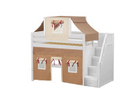 Mid Loft Bed w/ Staircase, Top Tent & Underbed Curtains (White)