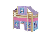 Mid Loft Bed w/ Straight Ladder, Top Tent & Curtain (Natural)