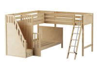 Med High Corner Twin/Full Bunk Loft w/ Stairs & Ladder