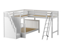 High Corner Twin/Full Bunk Loft w/ Ladders
