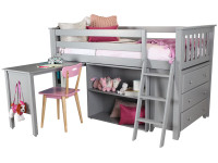 Space Saver Twin Low Loft w/ Bookcase, Chest, Desk & Ladder