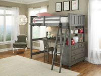 Shown with desk below loft bed