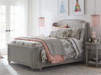Juliette Upholstered Panel Shelter Bed Queen - Grey