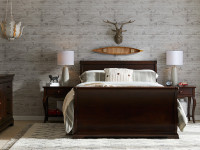 Sydney Sleigh Bed Queen - Dark Cherry