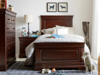 Sydney Panel Bed Twin - Dark Cherry