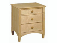 Contemporary 3 Drawer Nightstand w/ Natural Finish  - Floor Sample