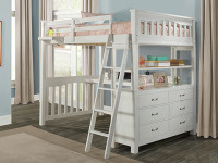 Seaview Loft Bed Full - White