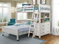 Seaview Loft Bed Twin over Full - White