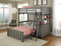 Lakeview Loft Bed Twin over Full - Grey