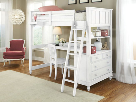 Shown is the twin size white loft with desk (also available in full size)