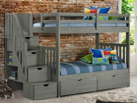 Rustic Brushed Pine Staircase Bunk Beds Twin/Twin - Grey