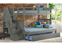 Rustic Brushed Pine Staircase Bunk Beds Twin/Full - Grey