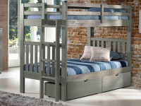 Rustic Brushed Pine Bunk Bed with End Ladder Twin/Twin - Grey