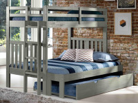 Rustic Brushed Pine Bunk Bed with End Ladder Twin/Full - Grey