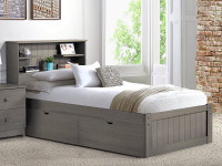 Rustic Brushed Pine Bookcase Platform Bed - Grey