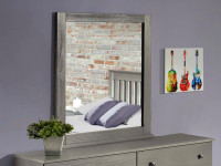 Rustic Brushed Pine Mirror - Grey