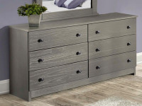 Rustic Brushed Pine Double Dresser - Grey