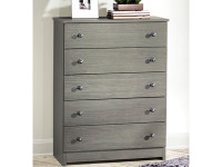 Rustic Brushed Pine 5 Drawer Chest - Grey