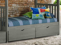 Rustic Brushed Pine Underbed Storage Drawers - Grey