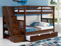Rustic Brushed Pine Staircase Bunk Beds Twin/Twin - Chestnut