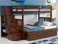 Rustic Brushed Pine Staircase Bunk Beds Twin/Full - Chestnut