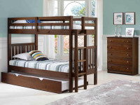 Rustic Brushed Pine Bunk Bed with End Ladder Twin/Twin - Chestnut