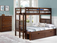 Rustic Brushed Pine Bunk Bed with End Ladder Twin/Full - Chestnut